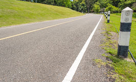 Panoramic view of nice green hill and road Royalty Free Stock Photo