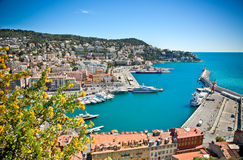 Panoramic view of Nice harbour with blue sky. Royalty Free Stock Images