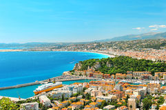 Panoramic view of Nice, Mediterranean Sea, France Stock Images