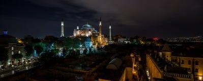 Panoramic view on night Hagia Sophia Museum Stock Photo