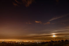 Panoramic view at night from italian hills Stock Images