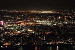 Panoramic view of night New-York city stock photography