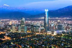 Panoramic view at night of Santiago de Chile. With The Andes Mountain Range in the back Stock Images