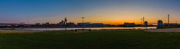 Panoramic view night scene Downtown Omaha Nebraska stock photo