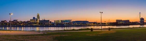 Panoramic view night scene Downtown Omaha Nebraska stock photography
