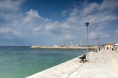 Panoramic view of Nikiti Beach at Sithonia peninsula, Chalkidiki, Central. CHALKIDIKI, CENTRAL MACEDONIA, GREECE - AUGUST 25, 2014: Panoramic view of Nikiti royalty free stock photo