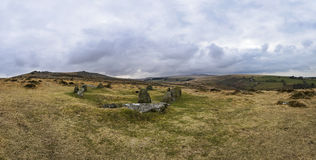 The Nine Maidens Stone Circle on Dartmoor. Panoramic view of The Nine Maidens Stone Circle on Dartmoor in Devon. The stones would have originally encompassed a Royalty Free Stock Photo