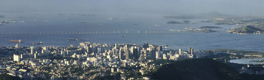 Panoramic view of Niteroi bridge, Rio de Janeiro, Brazil. Partial view of 14Km-long bridge linking Rio de Janeiro with Niteroi, Brazil. The New Cathedral (Nova Royalty Free Stock Photography