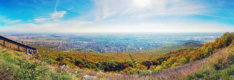 Panoramic view of the Nitra city from Zobor hill, vivid filter Stock Photography