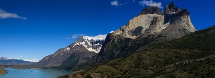 A panoramic view of the lakes and Mountains in Torres del Paine National Park, Patagonia. A panoramic view of the Nordenskjöld lake and Cerro Paine Grande Stock Image
