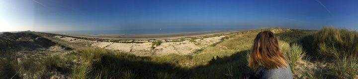 Panoramic view of North Beach. In Belgium. That photo is coming from a city called `Le Coq` in french, it means `rooster` in english Royalty Free Stock Photography