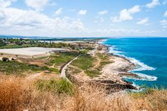 View on North Galilee nature and Mediterranean Sea coast from Rosh Hanikra National Park in Israel. Panoramic view on North Galilee nature and Mediterranean Sea royalty free stock photo