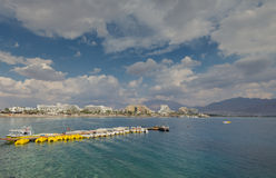 Panoramic view on the northern beach of Eilat Stock Photo