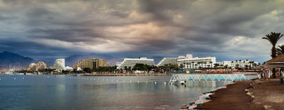 Panoramic view on northern beach of Eilat, Israel Stock Photography