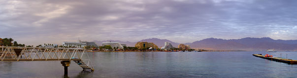 Panoramic view on northern beach of Eilat, Israel Royalty Free Stock Images