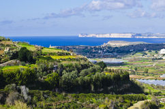 Panoramic North Malta. An aerial view of the northern part of Malta during winter Stock Photo