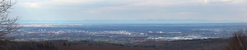 Panoramic view in northwest direction while ascending to castle ruin Ebersteinburg in Baden-Wurttemberg, Germany Royalty Free Stock Photos