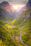 Panoramic View On Norway Mountain Landscape Stock Photos