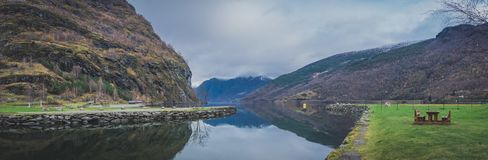 Panoramic view of norwegian fiord Royalty Free Stock Images