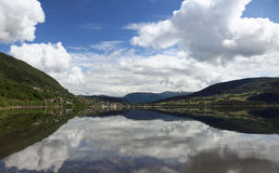 Panoramic view of norwegian lake. Royalty Free Stock Image
