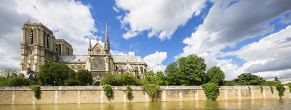 Panoramic view of Notre Dame Cathedral Royalty Free Stock Photography