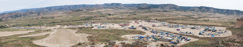 Panoramic view of the Nowhere Festival campsite in a beautiful v Stock Images