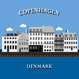 Panoramic view of Nyhavn, Copenhagen, Denmark Stock Images