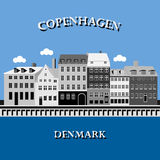 Panoramic view of Nyhavn, Copenhagen, Denmark Stock Photos