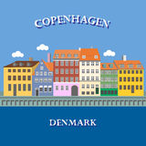 Panoramic view of Nyhavn, Copenhagen, Denmark Stock Image