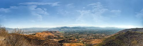 Panoramic view of Oaxaca valley from Monte Alban stock image