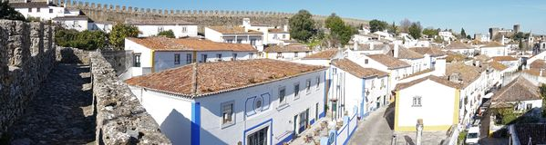 Panoramic View of Obidos, Portugal Royalty Free Stock Images