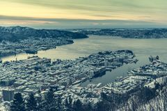 Panoramic view from the observation deck at Bergen Stock Images