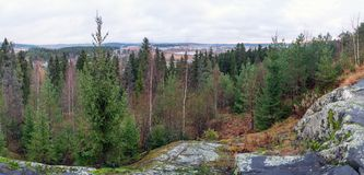 Panoramic view from the observation deck of the Park Vaccoli in Sortavala. Russia, Republic of Karelia, Sortavala, city Park of culture and rest Vaccoli stock images