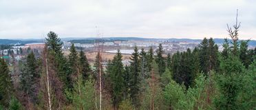 Panoramic view from the observation deck of the Park Vaccoli in Sortavala. Russia, Republic of Karelia, Sortavala, city Park of culture and rest Vaccoli royalty free stock photography