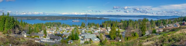 Panoramic view of the ocean and Ladysmith in Vancouver Island, B royalty free stock images