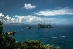 Panoramic view of ocean and small island in the ocean, Coromandel Peninsula, New Zealand stock image