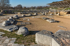 Panoramic view of octagon church in the archeological area of ancient Philippi, Greece Stock Images