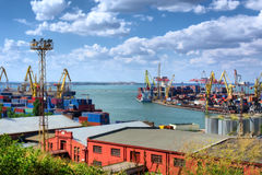 Panoramic view at the Odessa cargo port Stock Images