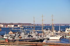 Panoramic view of the Odessa harbor, in the black sea. In the foreground are visible some warships. stock images
