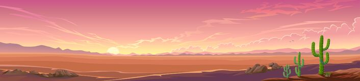 Free Panoramic View Of A Desert Sunset. A Wide View Of A Large Landscape With Some Vegetation. Stock Images - 200412264