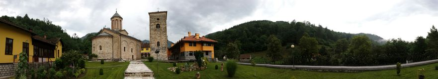 Panoramic View Of An Old Monastery Royalty Free Stock Photography