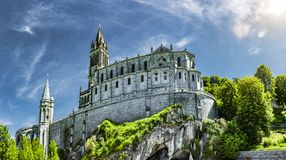 Free Panoramic View Of Basilica Notre Dame In Lourdes Stock Image - 153572301