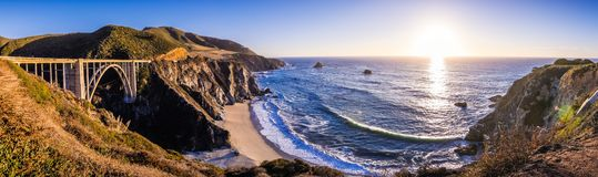 Panoramic View Of Bixby Creek Bridge And The Dramatic Pacific Ocean Coastline, Big Sur, California Royalty Free Stock Photo