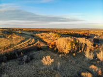 Free Panoramic View Of Bright Autumn Steppe Nature Taken By Drone Royalty Free Stock Photos - 167650868