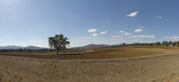 Free Panoramic View Of Dry, Dusty, Drought Stricken Barren Farmland Stock Image - 132211801