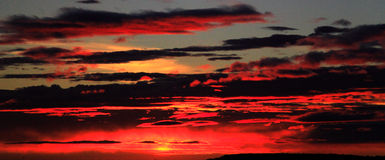 Panoramic View Of Fire In The Sky Royalty Free Stock Photography