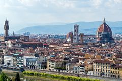 Panoramic View Of Florence Major Monuments - Florence, Tuscany, Italy Stock Photos
