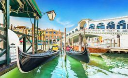 Free Panoramic View Of Gondolas And Boat At Their Moorings Against Famous Rialto Bridge At Grand Canal In Venice, Italy, Europe Royalty Free Stock Photography - 158877287