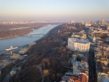 Free Panoramic View Of Kiev, The Dnieper River And Podol District In April. Kiev, Ukraine. Drone Photography Stock Image - 115581661