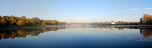 Panoramic View Of Lake And Forest Royalty Free Stock Photography